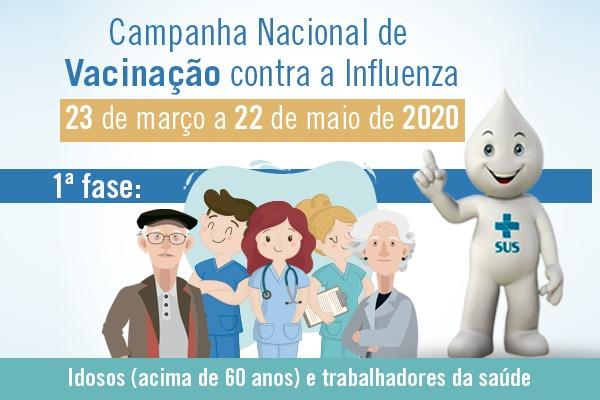 Vacinas contra a Influenza estarão disponíveis nesta quarta-feira (8)